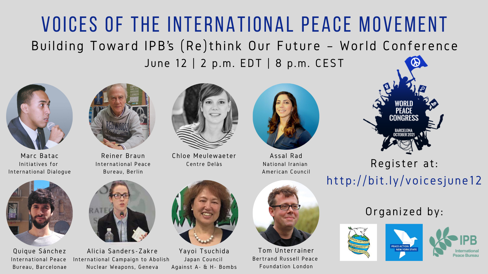 PREPARATORY CONFERENCE: Voices of the International Peace Movement
